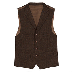 Carl Gross - Carl Gross Harris Tweed Kahverengi Yün Yelek