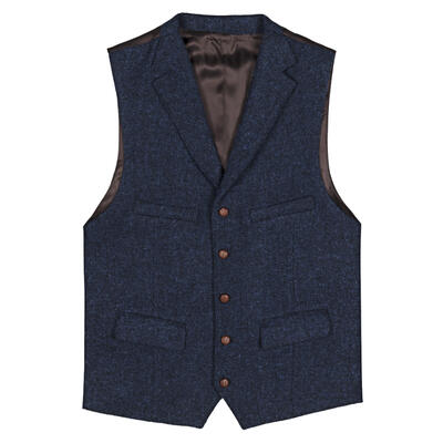 Carl Gross - Carl Gross Harris Tweed Lacivert Mavi Yün Yelek