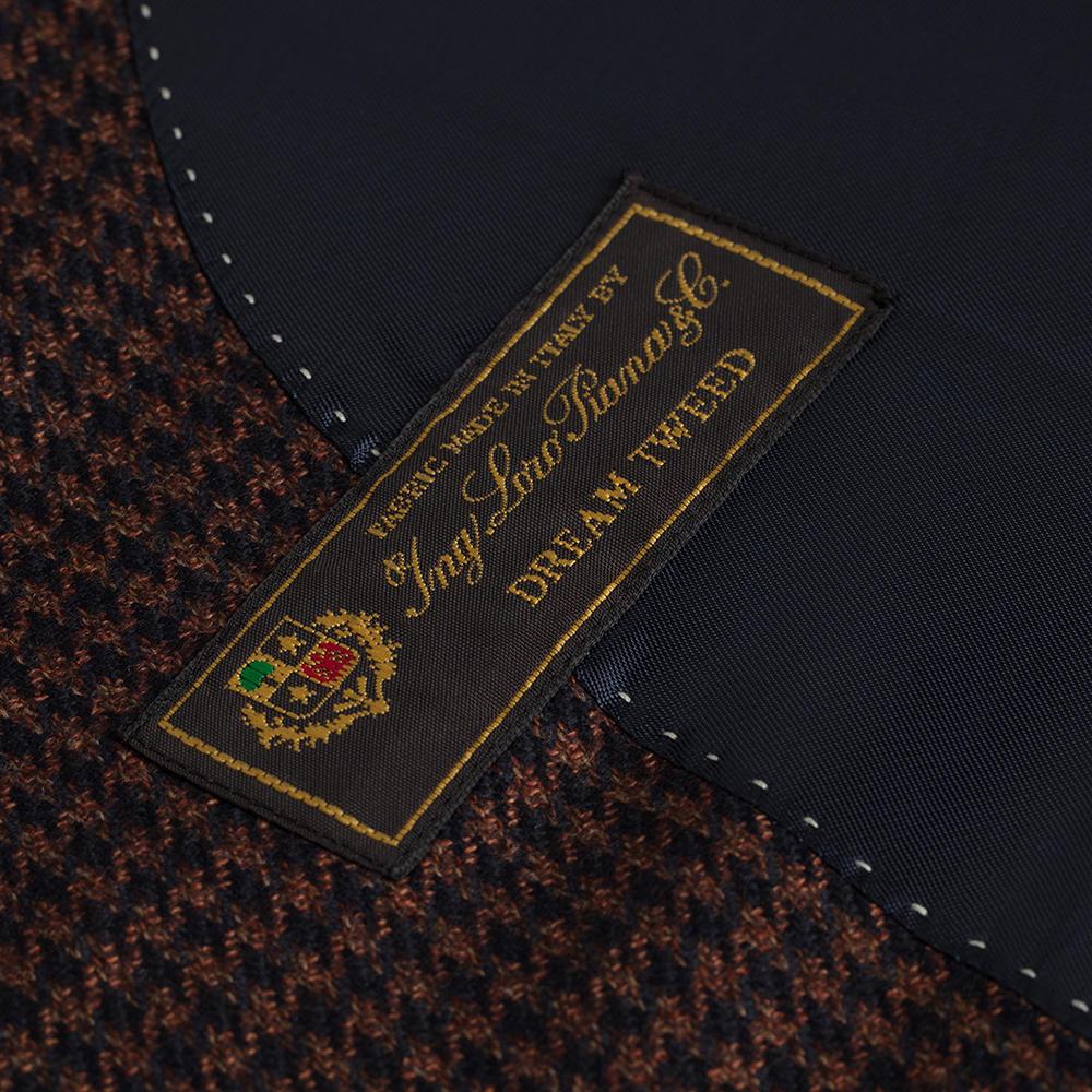 Carl Gross Kahve-Siyah Pied De pule Yün-İpek Loro Piana Dream Tweed Ceket