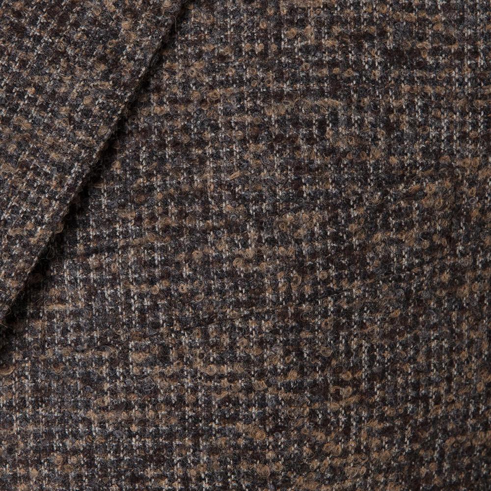 Carl Gross Kahverengi-Bej Diagonal Melanj Yün Alpaca Polyamide Loro Piana Ceket