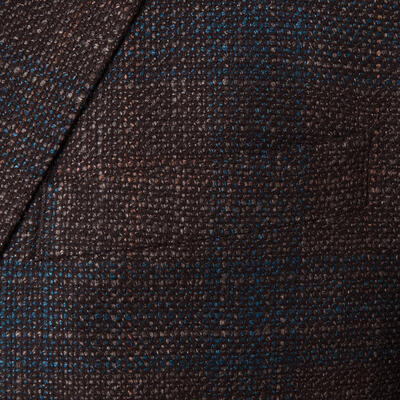 Carl Gross - Carl Gross Kahverengi Mavi Kareli Yün Ipek Cerruti Ceket (1)