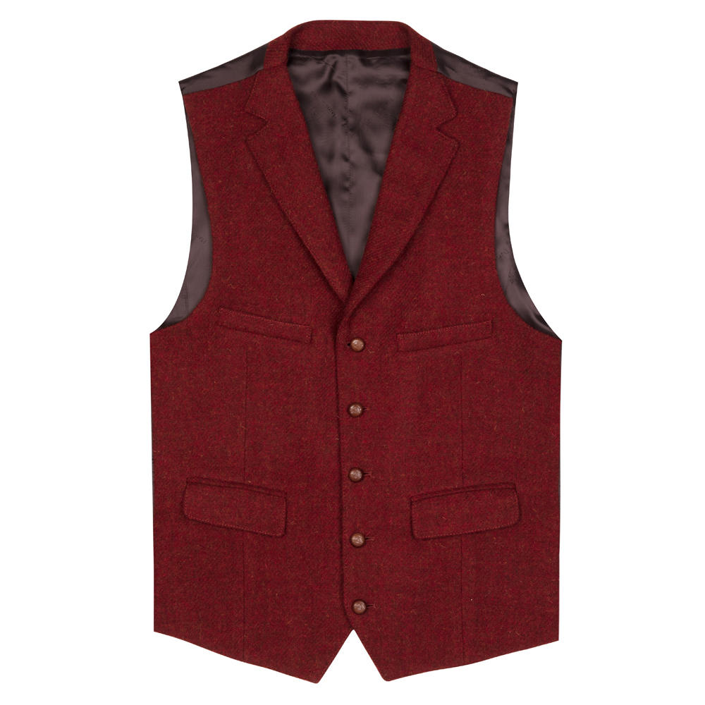 Carl Gross Kiremit Rengi Harris Tweed Yün Yelek