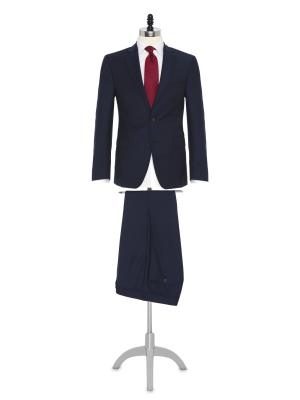 Carl Gross - Carl Gross Lacivert Çizgili Süperfine Australian Wool Takım Elbise