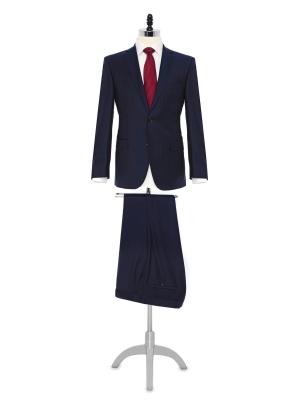 Carl Gross - Carl Gross Lacivert Çizgili Yün Takım Elbise
