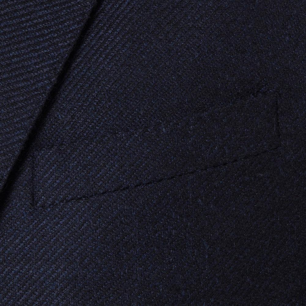 Carl Gross Lacivert Diagonal Dokulu Yün-İpek Loro Piana Zelander Ceket
