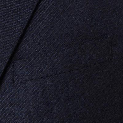 Carl Gross - Carl Gross Lacivert Diagonal Dokulu Yün-İpek Loro Piana Zelander Ceket (1)