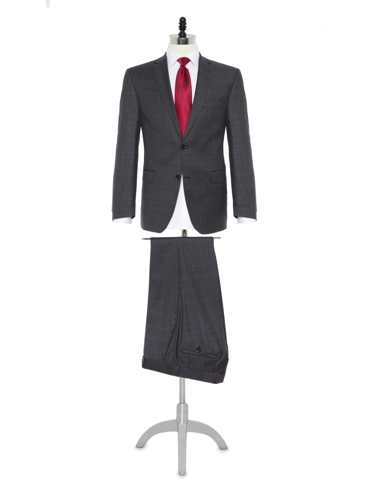 Carl Gross - Carl Gross Loro Piana Tasmanian Süper 150'S Gri Kareli Yün Takım Elbise