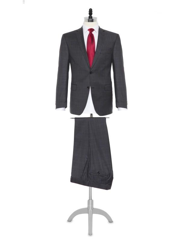 Carl Gross Loro Piana Tasmanian Süper 150'S Gri Kareli Yün Takım Elbise