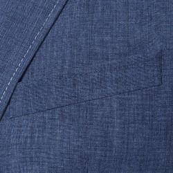 Carl Gross Mavi Keten Yarım Astar Ceket - Thumbnail