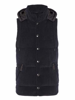 Carl Gross Navy Blue Velvet Hooded Waistcoat