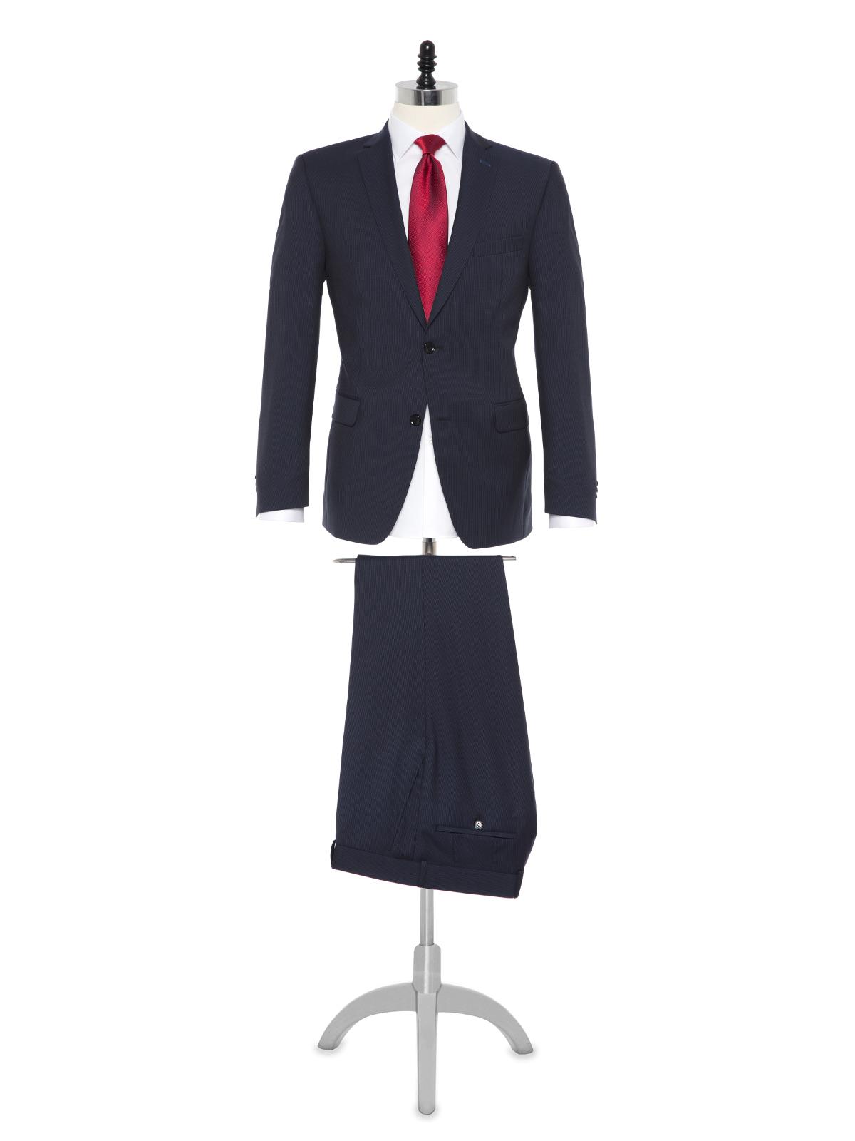 Carl Gross - Carl Gross Reda Süper 100'S K.Lacivert Çizgili Yün Takım Elbise