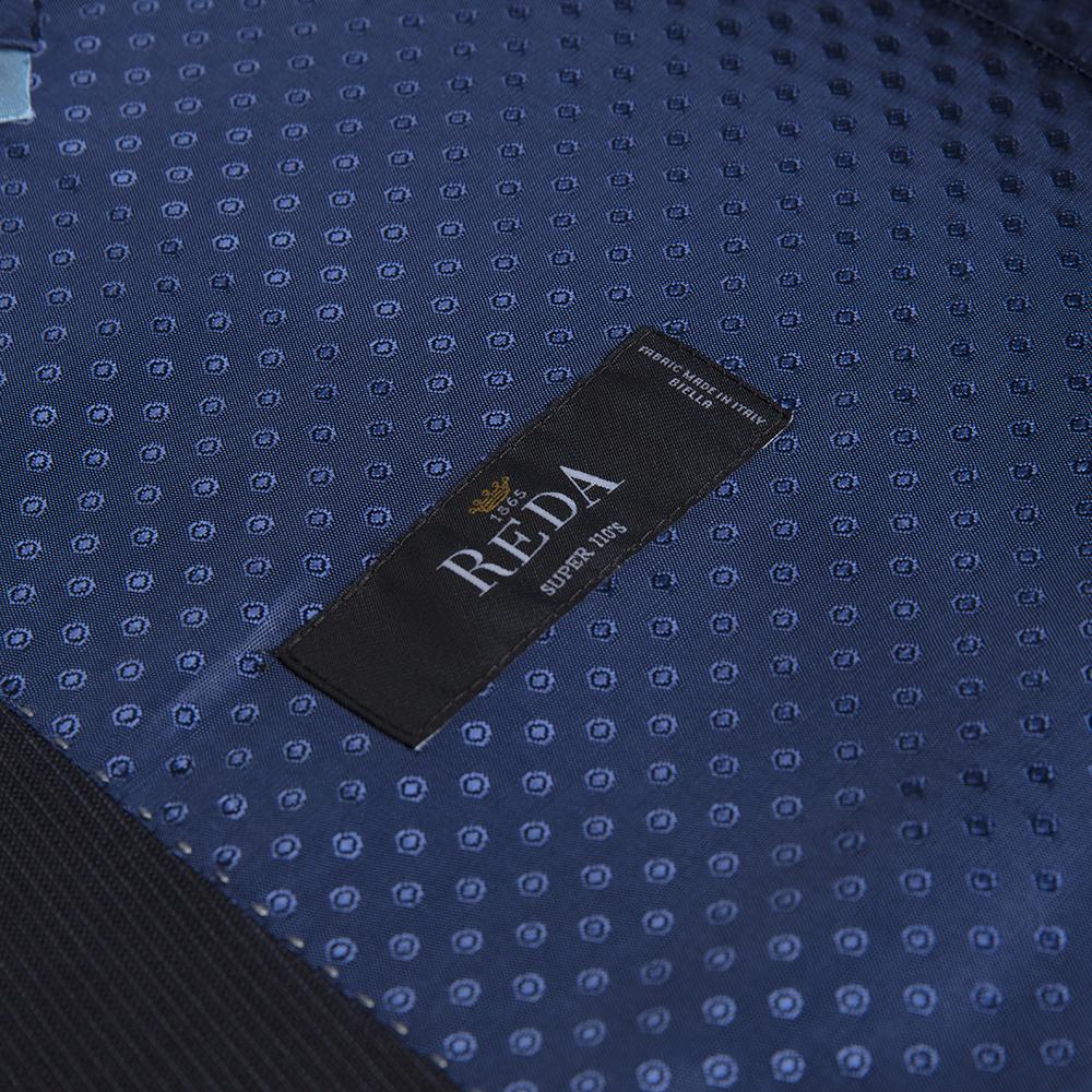 Carl Gross Reda Süper 100'S K.Lacivert Çizgili Yün Takım Elbise