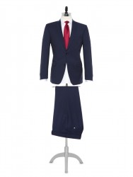 Carl Gross - Carl Gross Reda Süper 110'S A.Lacivert Çizgili Yün Takım Elbise
