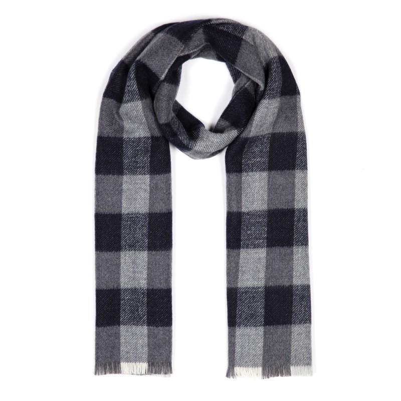 Cerruti - Cerruti Navy Grey Check Wool Scarf