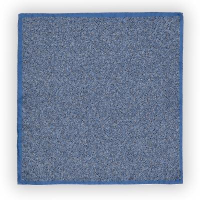 Cerruti - Cerruti Mavi Siyah Krem Desenli Ipek Mendil