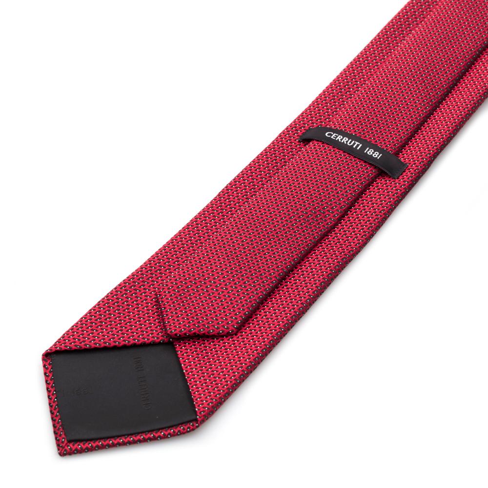 Cerruti Siyah Kırmızı Puanlı Ipek Kravat