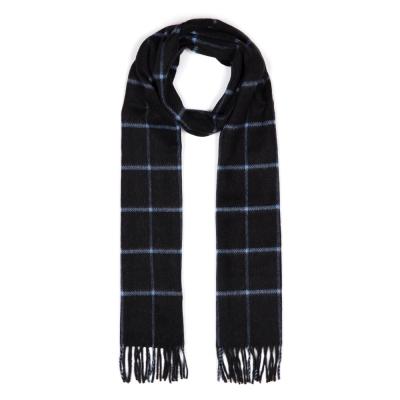 Cerruti - Cerruti Black Blue Check Cashmere Scarf