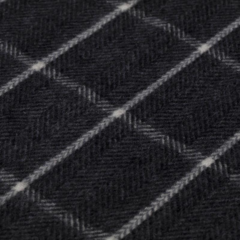 Dante - Dante Grey Herringbone Check Cashmere Scarf (1)