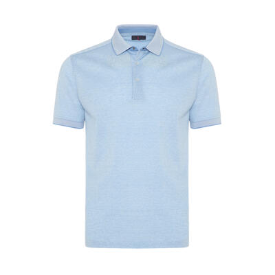 Gallus Açık Mavi Kendinden Desenli Filo Di Scozia Polo Yaka T-Shirt
