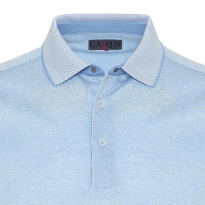 Gallus - Gallus Açık Mavi Kendinden Desenli Filo Di Scozia Polo Yaka Tailor Fit T-Shirt (1)