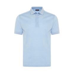 Gallus - Gallus Açık Mavi Kendinden Desenli Filo Di Scozia Polo Yaka T-Shirt