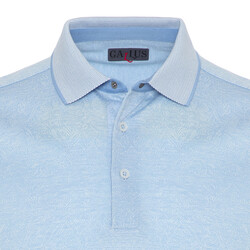 Gallus - Gallus Açık Mavi Kendinden Desenli Filo Di Scozia Polo Yaka T-Shirt (1)