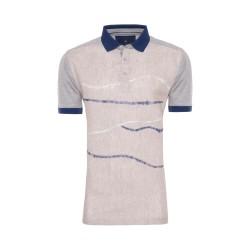 Gallus - Gallus Bej İşlemeli Filodi Scozia Keten Polo T-Shirt