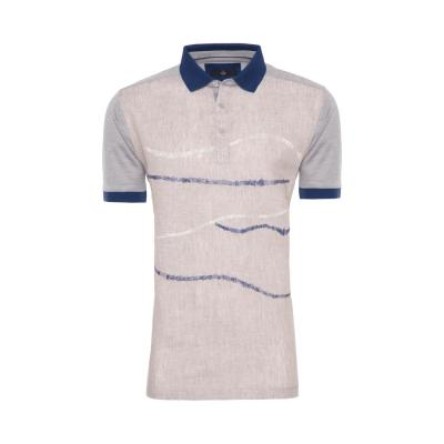 Gallus Bej İşlemeli Filodi Scozia Keten Polo T-Shirt