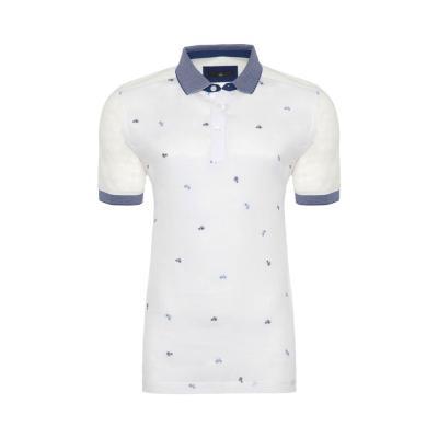 Gallus - Gallus Beyaz Bisiklet İşlemeli Filodi Scozia Keten Polo T-Shirt