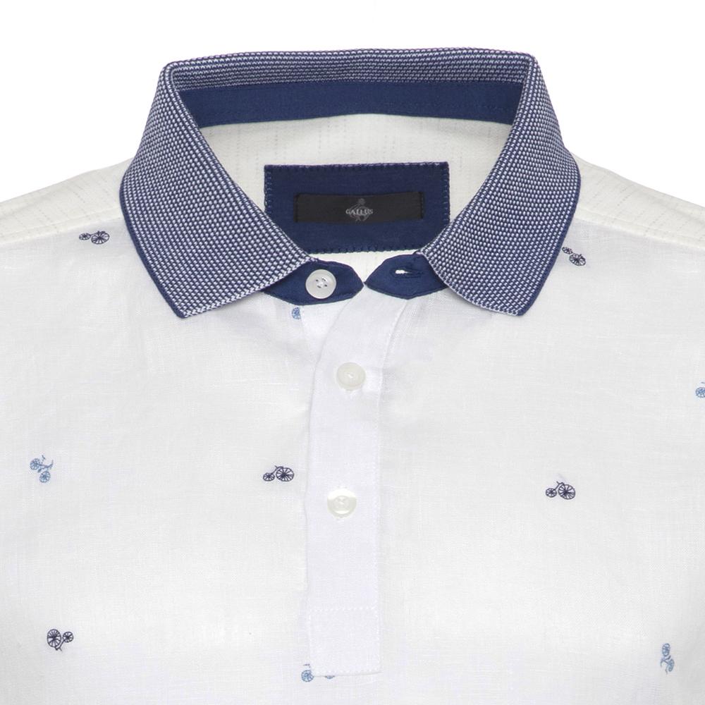 Gallus Beyaz Bisiklet İşlemeli Filodi Scozia Keten Polo T-Shirt