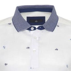 Gallus Beyaz Bisiklet İşlemeli Filodi Scozia Keten Polo T-Shirt - Thumbnail