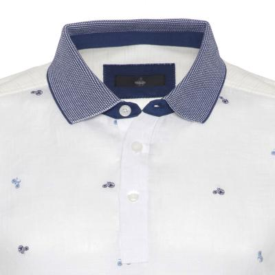 Gallus - Gallus Beyaz Bisiklet İşlemeli Filodi Scozia Keten Polo T-Shirt (1)