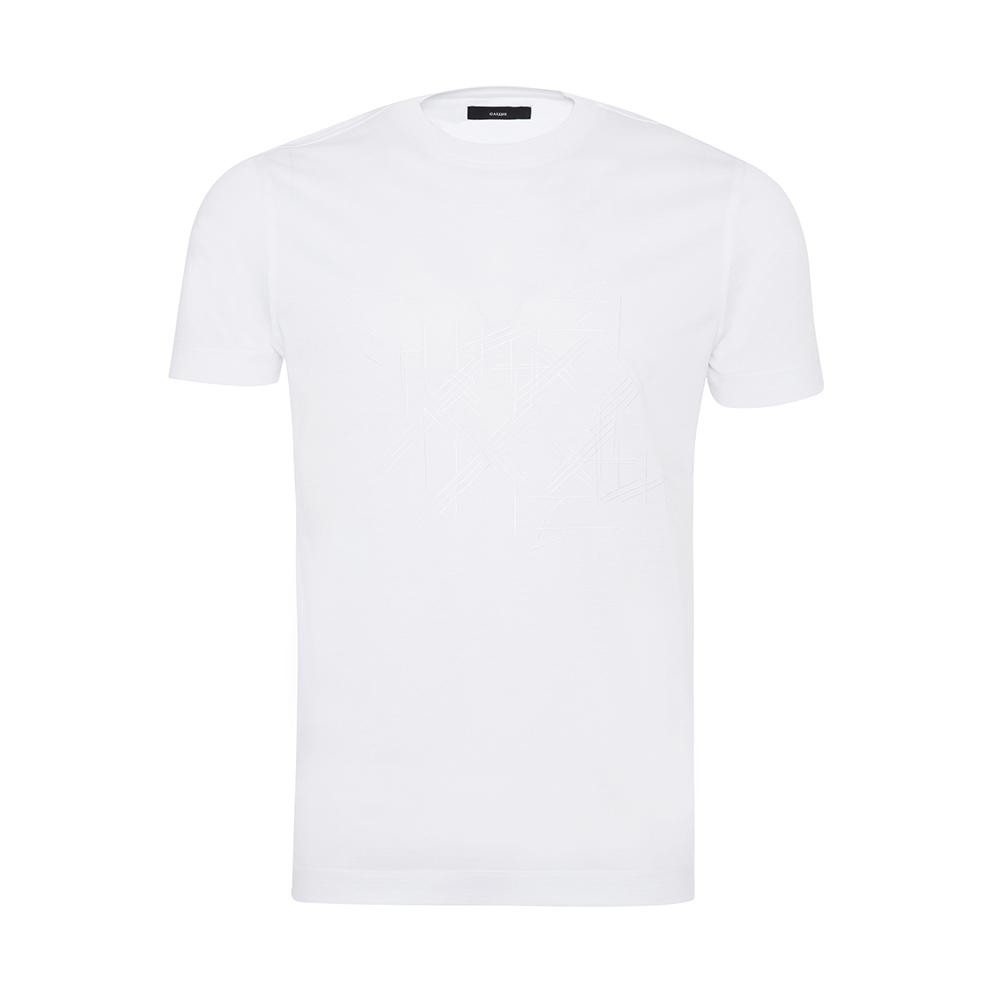 Gallus - Gallus Beyaz Filo Di Scozia Örme Bisiklet Yaka İşlemeli Slim Fit T-Shirt