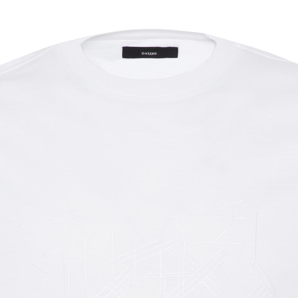 Gallus Beyaz Filo Di Scozia Örme Bisiklet Yaka İşlemeli Slim Fit T-Shirt