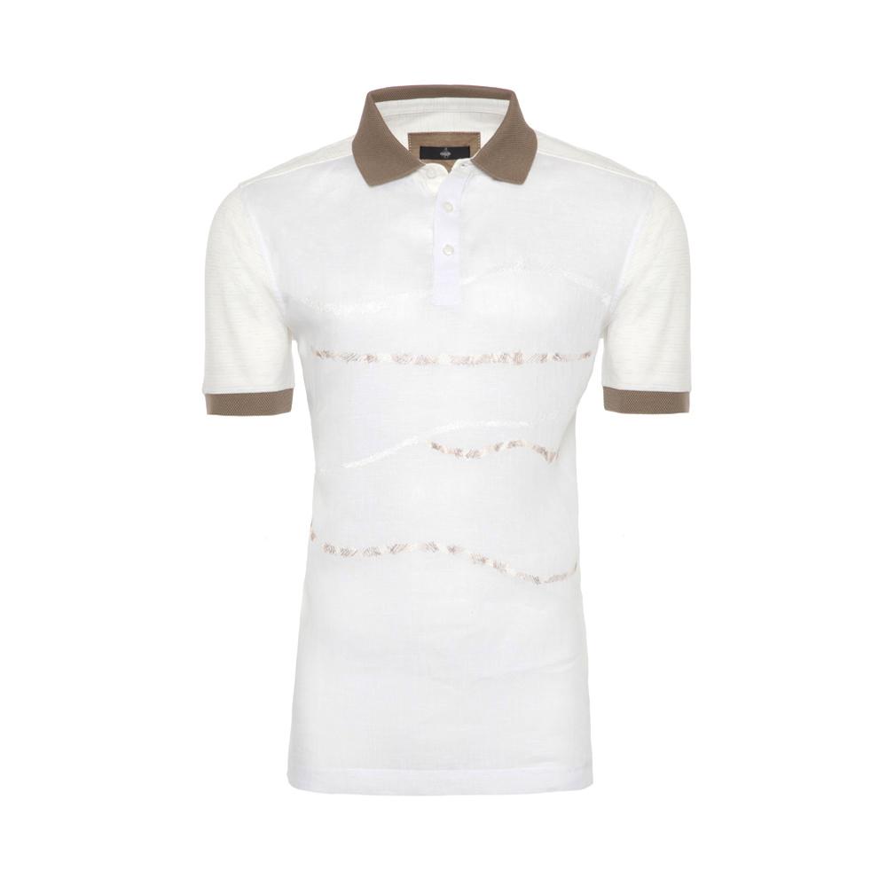 Gallus Beyaz İşlemeli Filodi Scozia Keten Polo T-Shirt