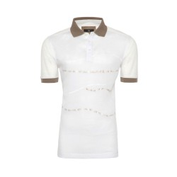 Gallus Beyaz İşlemeli Filodi Scozia Keten Polo T-Shirt - Thumbnail