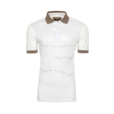 Gallus - Gallus Beyaz İşlemeli Filodi Scozia Keten Polo T-Shirt