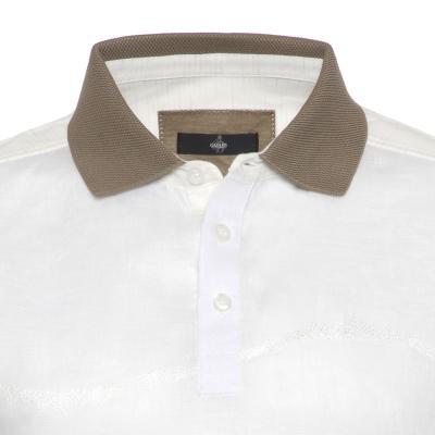Gallus - Gallus Beyaz İşlemeli Filodi Scozia Keten Polo T-Shirt (1)
