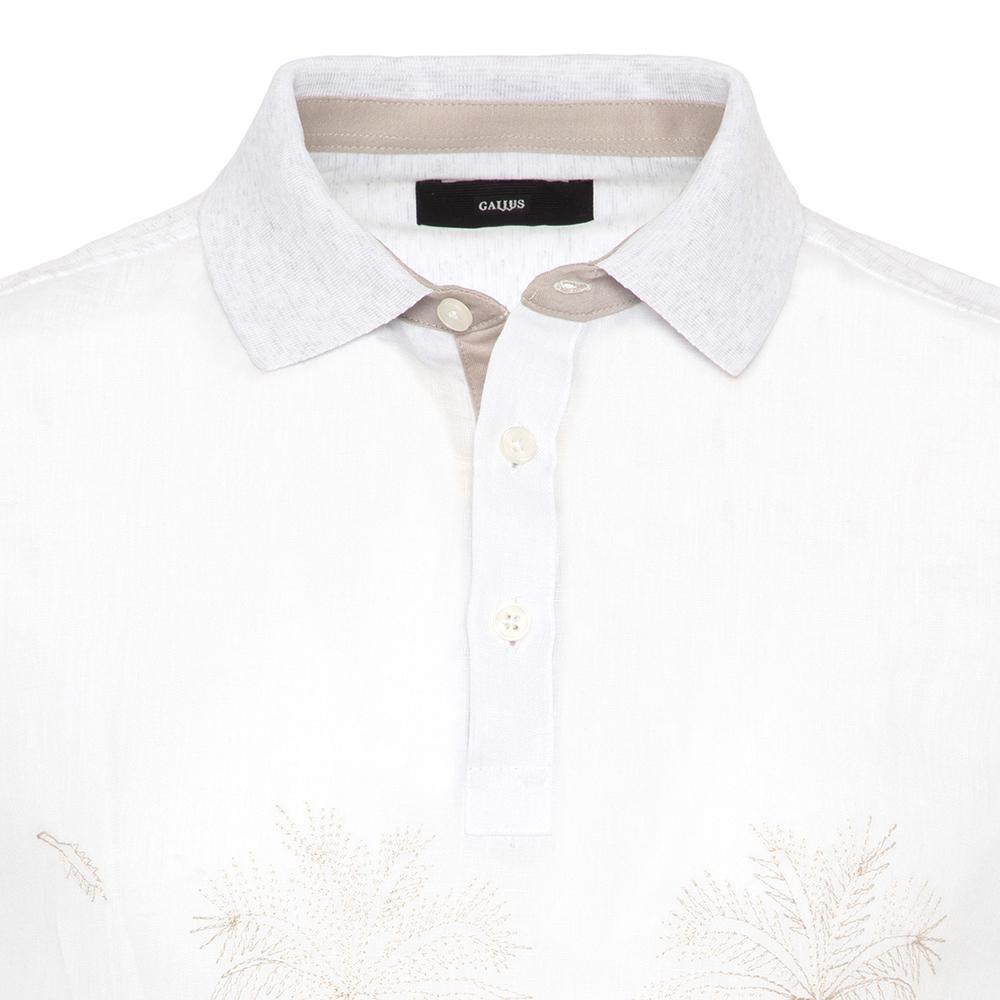 Gallus Beyaz İşlemeli Önü Keten Arkası Pamuk Filo Di Scozia Polo Yaka Tailor Fit T-Shirt