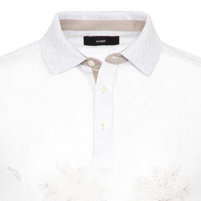 Gallus - Gallus Beyaz İşlemeli Önü Keten Arkası Pamuk Filo Di Scozia Polo Yaka Tailor Fit T-Shirt (1)
