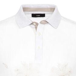 Gallus - Gallus Beyaz İşlemeli Önü Keten Arkası Pamuk Filo Di Scozia Polo Yaka T-Shirt (1)