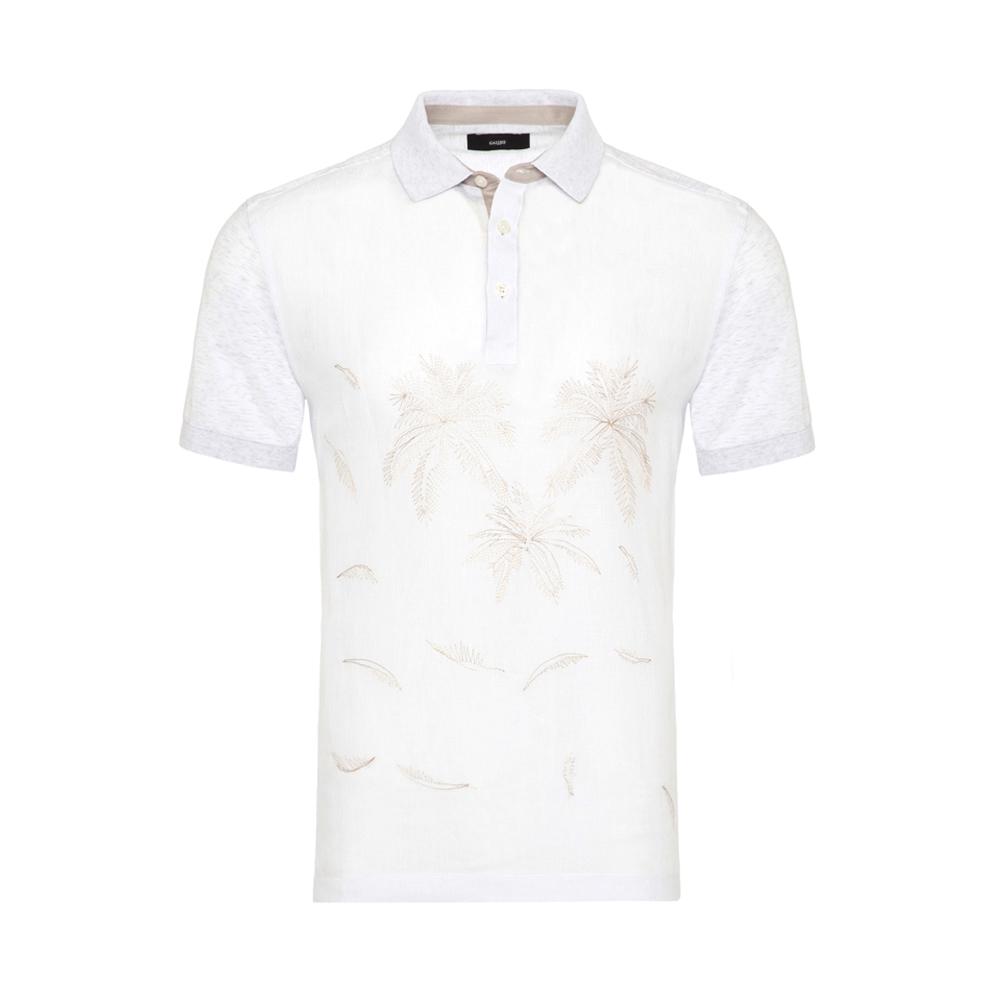 Gallus - Gallus Beyaz İşlemeli Önü Keten Arkası Pamuk Filo Di Scozia Polo Yaka Tailor Fit T-Shirt