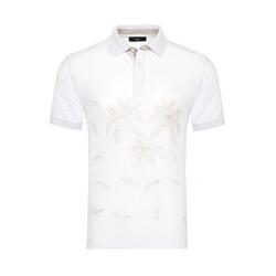 Gallus - Gallus Beyaz İşlemeli Önü Keten Arkası Pamuk Filo Di Scozia Polo Yaka T-Shirt