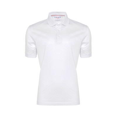 Gallus - Gallus Beyaz Kendinden Desenli Filodi Scozia Polo T-Shirt