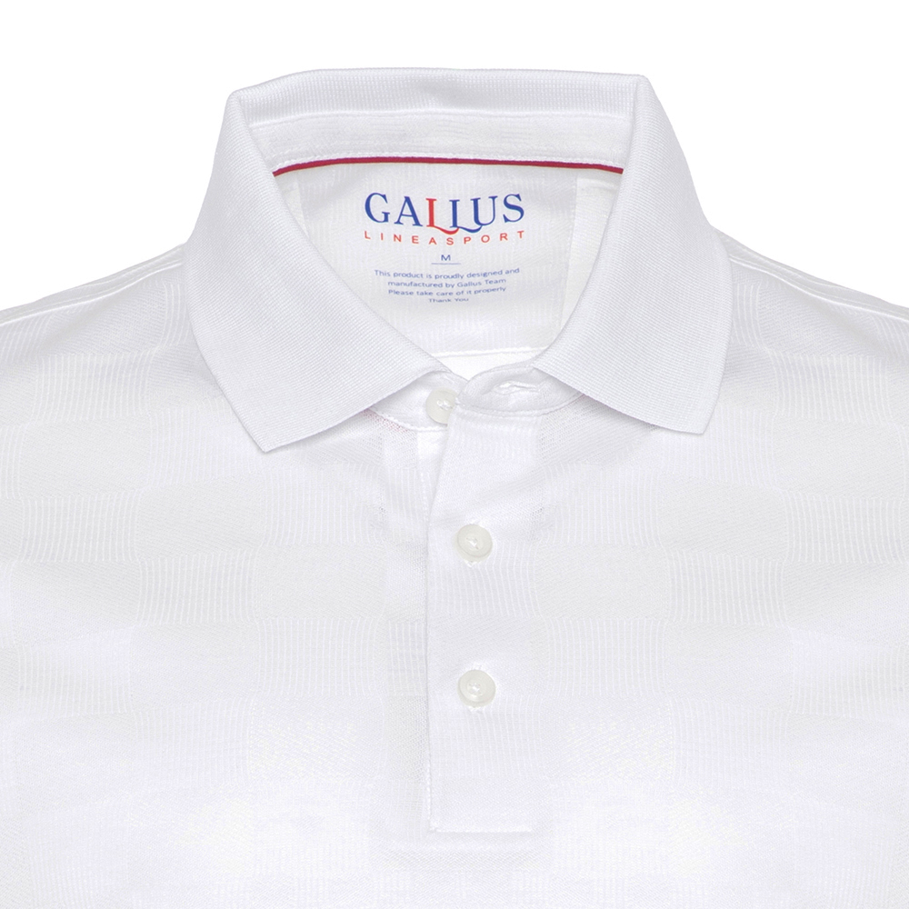 Gallus Beyaz Kendinden Desenli Filodi Scozia Polo T-Shirt