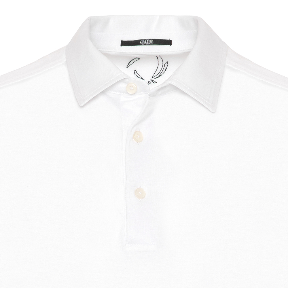 Gallus Beyaz Merserize Filo Di Scozia Polo Gömlek Yaka Tailor Fit T-Shirt