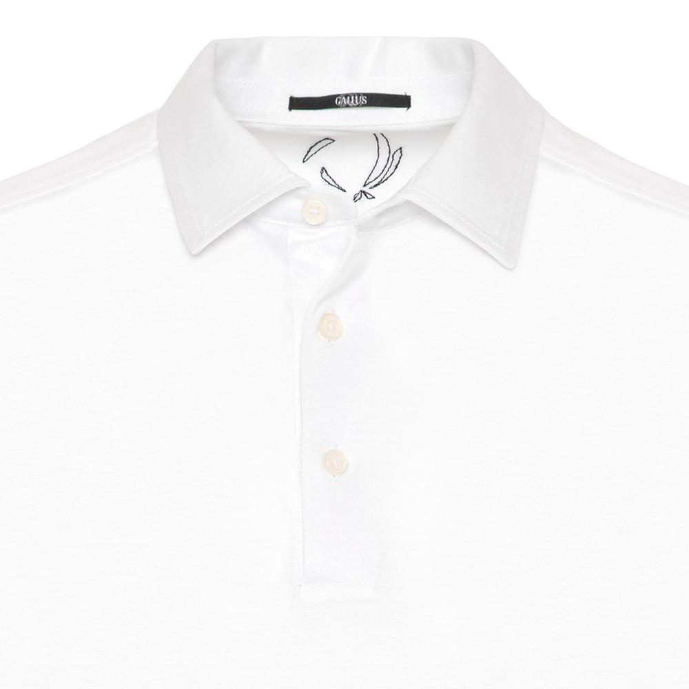 Gallus Beyaz Merserize Filo Di Scozia Polo Gömlek Yaka T-Shirt
