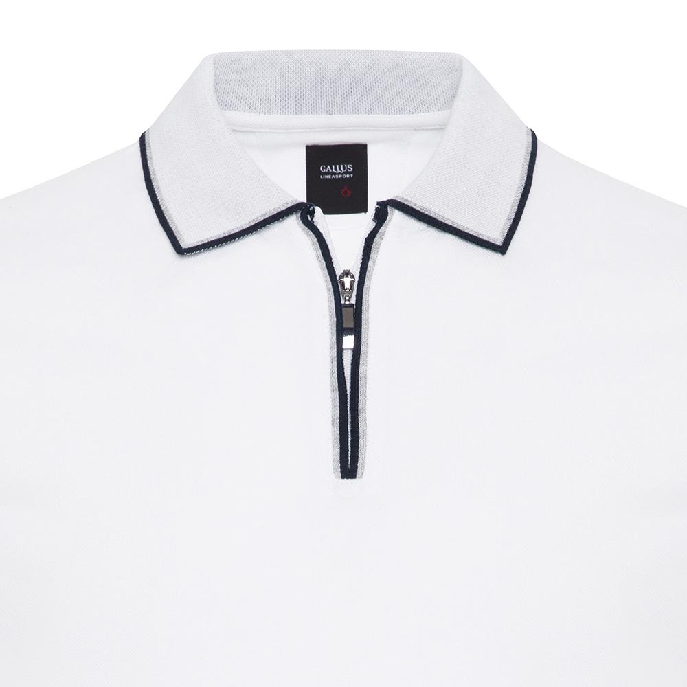 Gallus Beyaz Piquet Filo Di Scozia Polo Yaka Fermuarlı Tailor Fit T-Shirt