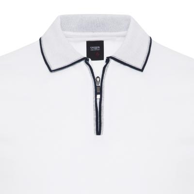 Gallus - Gallus Beyaz Piquet Filo Di Scozia Polo Yaka Fermuarlı Tailor Fit T-Shirt (1)