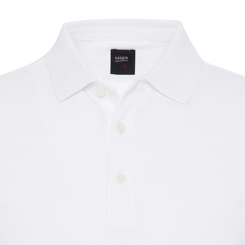 Gallus Beyaz Piquet Filo Di Scozia Polo Yaka Tailor Fit T-Shirt